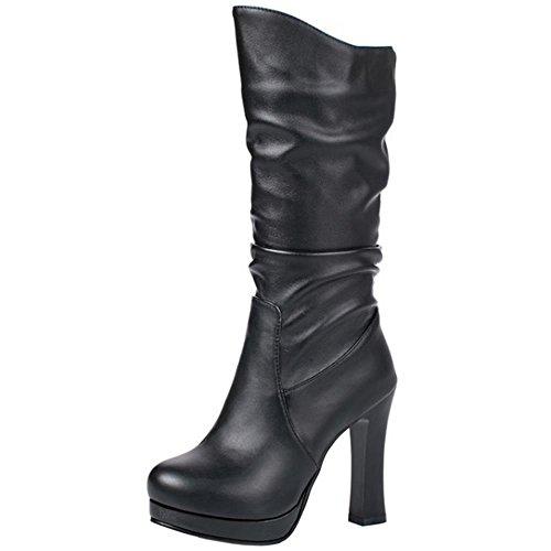 COOLCEPT Mujer Moda Tacon Alto Stretch Botas Mid Calf Black