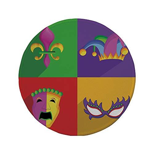 Non-Slip Rubber Round Mouse Pad,Mardi Gras,Colorful Frames with Mardi Gras Icons Masks Harlequin Hat and Fleur De Lis Print,Multicolor,7.87