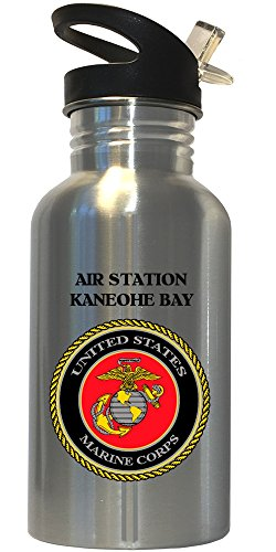 Air Station Kaneohe Bay - US Marine Corps Stainless Steel Water Bottle Straw Top, 1024