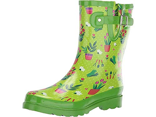 Western Chief Womens' Waterproof Printed Mid Height Rain Boot, Garden Days, 7 M - Boots Garden Rubber