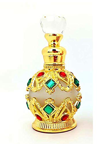 Shenzhao Round Diamond 15ML Refillable Empty Perfume Bottle For Perfume/Essential Oil (Gold)