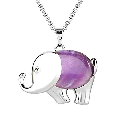 BEADNOVA Silver Plated Amethyst Cute Elephant Gemstone Necklace Healing Crystal Pendant Necklace Stainless Steel Chain ()