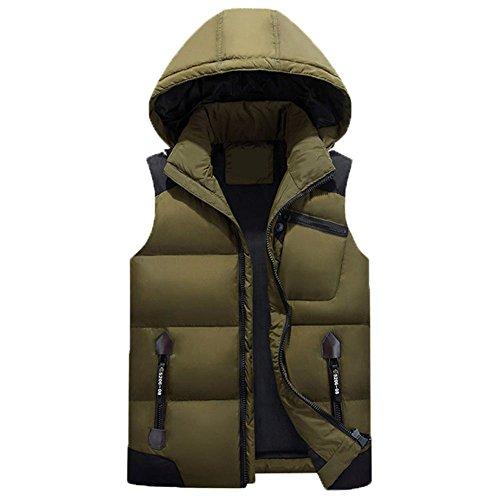 KIMIX ダウンベストメンズ超軽量防寒暖かい秋冬袖なしダウンジャケットフード付き秋冬アウトドアウェアKMQ10アーミーグリーン