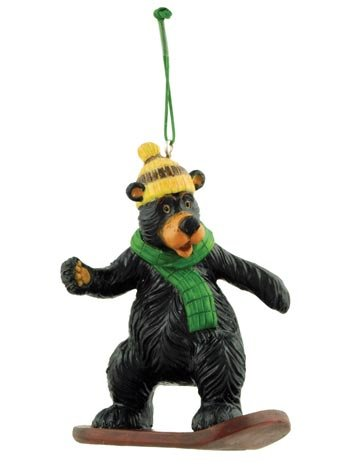 Bear Snowboarding Figure Collectible Ornament, 3.5-inch, Tree ()