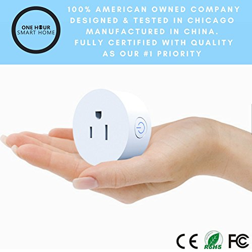 One Hour Smart Home - Smart Plug   Wifi Outlet Plug Mini Smart Socket   Voice Control   Remote & Smart Phone Controller   Works with Amazon Alexa   Amazon Echo & Google Assistant   No Hub Needed by One Hour Smart Home (Image #2)