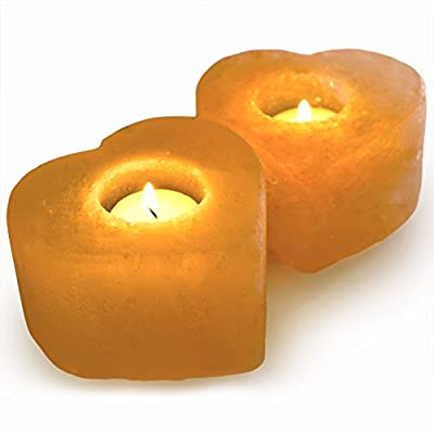 Hypnotic Gems Gallery: Pack of 2 Premium Quality Heart Shaped Himalayan Salt Candle Holder - Natural Air Purifying Hand Carved Tealight Salt Lamp - Completely Natural Ionic Air Purifier