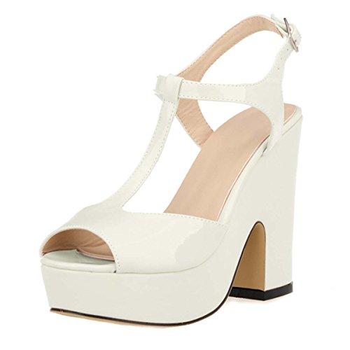 Sposa Bianco Con Caviglia Da Hooh Sporco Toe Alla Grosso Donna Cinturino Peep 7qHgZF