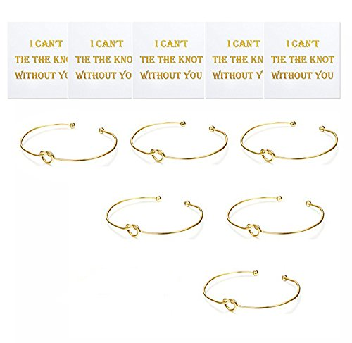 - SwanElegant Bridesmaid Gifts-Tie The Knot Wedding Thank You Gift,Love Knot Bangle Bracelets Jewelry,Bridal Party Gift Sets,Bridesmaid Bracelets for Women Girls(Gold-5pcs)