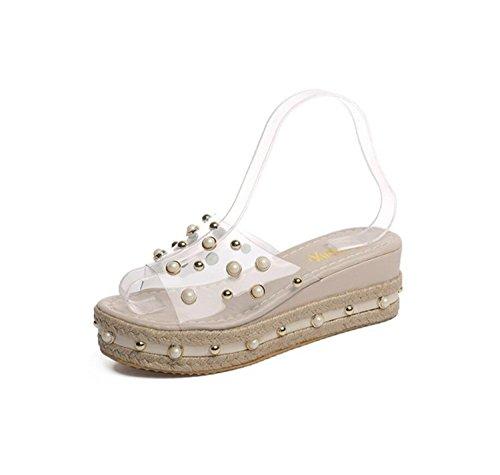 DANDANJIE Sandalias y Zapatillas Transparentes para Mujer Summer Platform Cuña Heel Slip Slipper Rhinestone Pearl Sandalias (Negro Blanco) Zapatos caseros Blanco