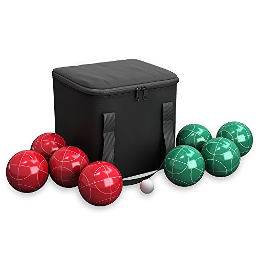Bocce Ball Set- Outdoor Family Bocce Game for Backyard, Lawn, Beach and More- Red and Green Balls, Pallino, and Equipment Carrying Case (Equipment Green Lawn)