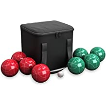 Hey! Play! 80-76090 Bocce Ball Set- Outdoor Family Bocce Game for Backyard, Lawn, Beach & More- 4 Red & 4 Green Balls, Pallino & Carrying Case