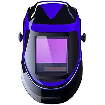 Solar Powered Welding Helmet Auto Darkening Professional Hood with Wide Lens Adjustable Shade Range 4/9-13 for Mig Tig Arc Weld Grinding Welder Mask (Blue)