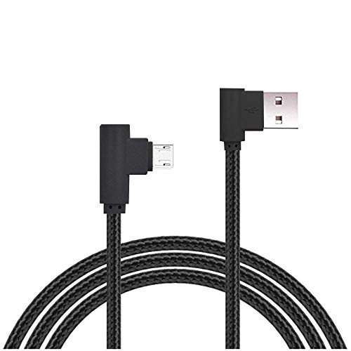Micro USB Cable, AOKER [2Pack 6ft] [New] Right Angle 90 Degree Nylon Braided High Speed Micro USB Cable Fast Charger for Samsung Galaxy S7/S6/S5/Edge,Note 5/4/3,HTC,LG,Nexus and More (2x6ft Black)