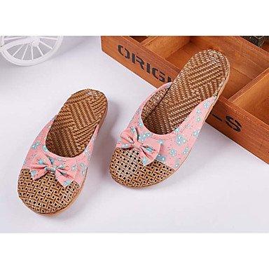 Zapatillas Unisex &Amp; Flip-Flops Primavera / Verano / Oto?o zapatos &Amp; bolsas de coincidencia casual de bamb¨² BowknotRe tal¨®n plano US9.5 / EU42 / UK8.5 / CN43