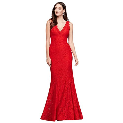 (Allover Lace V-Neck Gown with Eyelash Trim Style A18710, Red, 2)