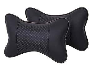 Car7 2PCS Car Neck Pillow (Soft Version) Lovely Breathe Car Auto Head Neck Rest Cushion Headrest Pillow Pad (Black)