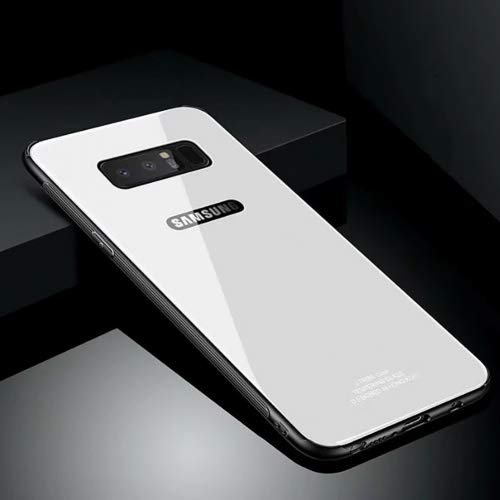 Glass Crystal Ribbed - Hard Rigid Tempered Glass Back Cover for Samsung Galaxy Note 8, Aearl Crystal Clear Rear Back Glass Plastic Interior TPU Silicone Bumper Case with Screen Protector for Samsung Galaxy Note 8 - White
