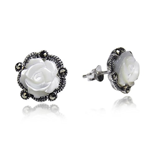 - Carved Rose Mother of Pearl and Marcasite Style Pyrite .925 Sterling Silver Stud Earrings