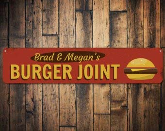 C B Signs L.E.D. Burger Joint Sign, Personalized Hamburger Lover Grill Master Name Kitchen Gift, Custom Food Cook Metal Decor - Quality Aluminum