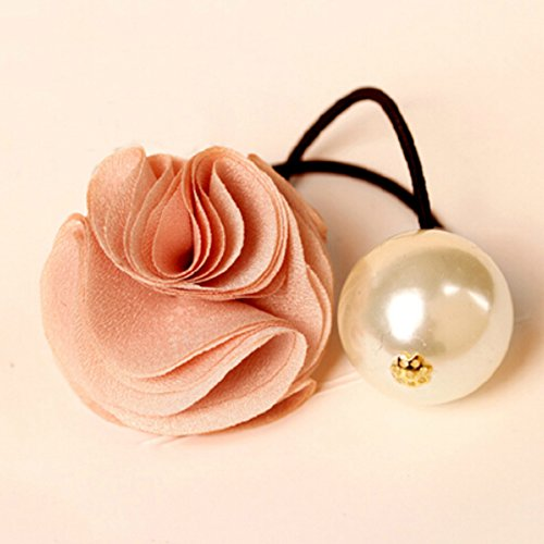 Spritech Rose Flower Hair Ring with Big Pearl Hair Band Hair