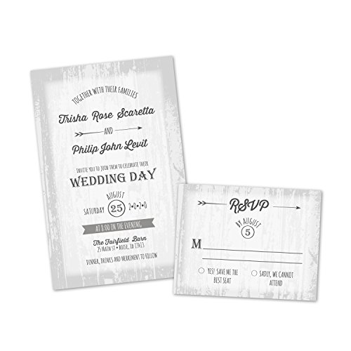 (Set of 10 Barn Door Personalized Wedding Invitations with Response Cards)