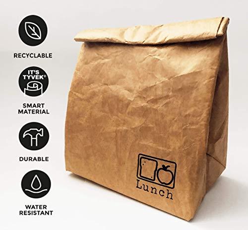 [해외]재사용 가능한 브라운 페이퍼 쿨러 런치 백. 사무실과 학교를 위한 친환경 내구성 및 누출 방지 점심 자루 / Reusable Brown Paper Cooler Lunch Bag. Eco-Friendly Durable and Leak Proof Lunch Sack for Office and School