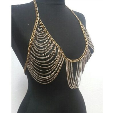 Meiysh Retro Fashion Golden Bra Body Necklace Chain Bikini Belly Chain