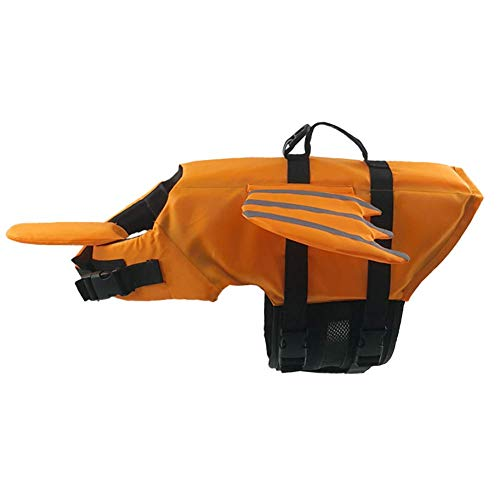 Hdwk&Hped Ripstop Little Devil Dog Lifejacket, Adjustable Reflective Pet Safety Vest with Chin Pad & Rescue Handle for Swimming Boating Canoeing Orange #2