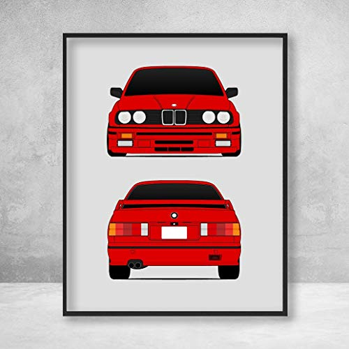 BMW M3 E30 3 Series Front and Rear Poster Print Wall Art Decor Handmade M Power BMW M