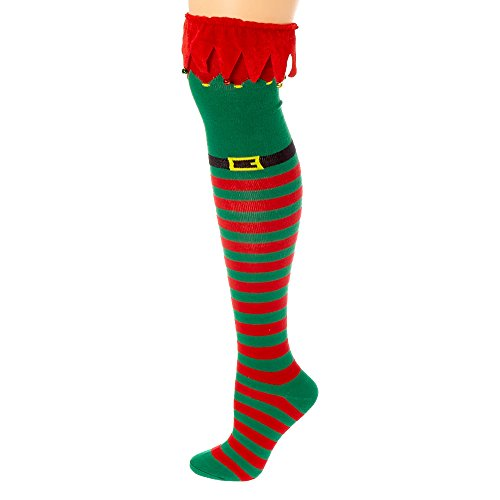 Christmas Holiday Novelty Knee High Socks for Teens, Tweens, Adults (Elf Costume Over the Knee Highs with -
