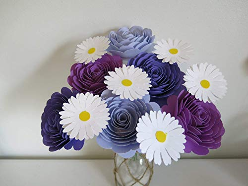 - Shades of Purple Roses and Daisies on Stems, One Dozen, Bouquet for Wife, Wedding Decorations, Bridal Shower Decor, Table Centerpiece Ideas