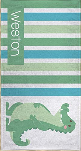 Personalized Alligator Microfiber Beach Towel for Kids - Blue and Green Alligator Striped Beach Towel, Kids Swimming Towel, Custom Beach Towel, Beach Flat Towel 60x30 inches