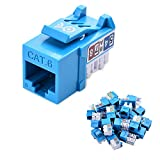 [UL Listed] Cable Matters 25-Pack Slim Profile 90 Degree Cat 6 / Cat6 RJ45 Keystone Jack with Keystone Punch Down Stand in Blue
