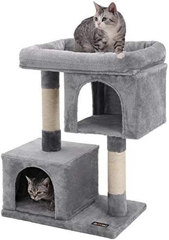 FEANDREA Cat Tree for Large Cats, 2 Cozy Plush Condos and Sisal Posts UPCT61W