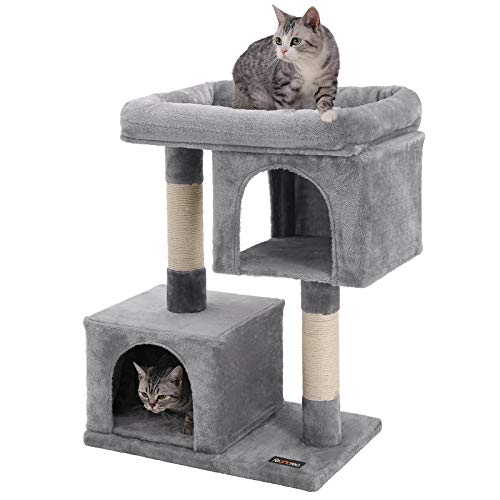 FEANDREA Cat Tree for Large Cats, 2 Cozy Plush Condos and Sisal Posts UPCT61W ()