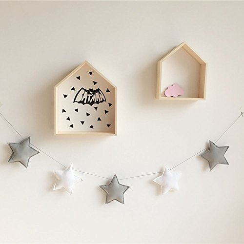 Handfly Cotton Star Garland Bunting Banner Hanging Decoration for kids room bedroom playroom nursery roon Birthday baby shower Mosquito Net Bed Canopy crib moible