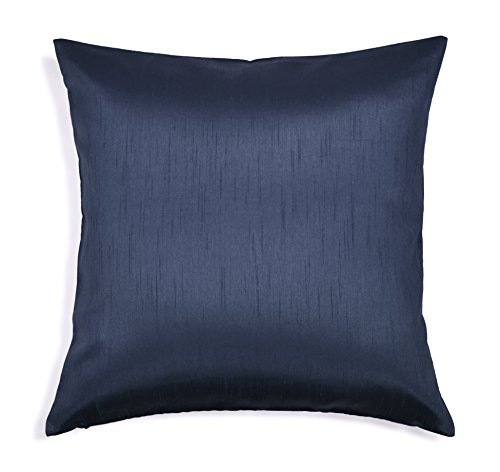 Aiking Home Solid Faux Silk Euro Sham/Pillow Cover, Zipper Closure, 26 by 26 Inches, Navy ()