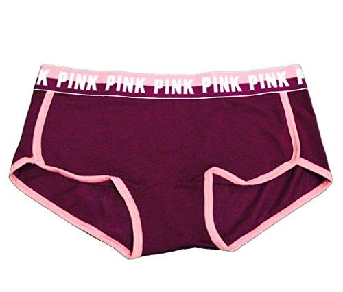 - Victoria's Secret Pink Logo Boy Short Panty Black Large Orchid/Soft Begonia