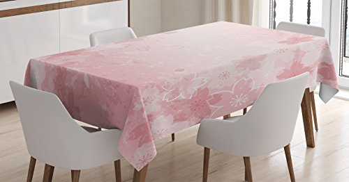 Ambesonne Nature Tablecloth, Cherry Blossoms Pattern in Shabby Form Style Flourish Themed Fashionable Artwork Print, Rectangular Table Cover for Dining Room Kitchen Decor, 60″ X 90″, Pale Pink