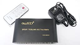 ViewHD SPDIF / TOSLINK Optical Digital Audio 4X2 True Matrix with Remote Control | VHD-SM4X2