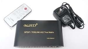 ViewHD SPDIF / TOSLINK Optical Digital Audio 4X2 True Matrix with Remote Control   VHD-SM4X2