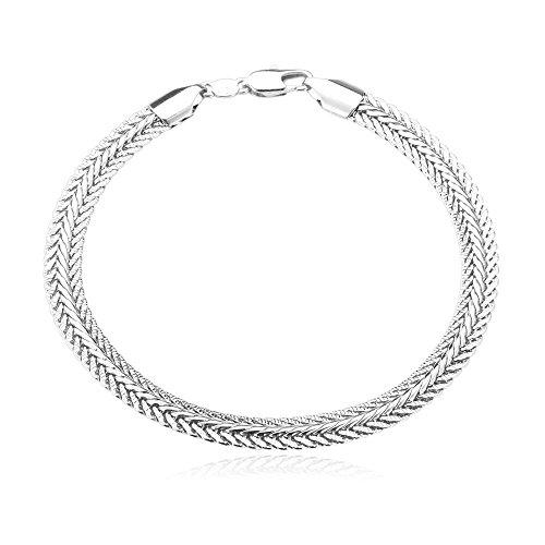 Bracelet Chain Foxtail (U7 Men Jewelry 6mm 18K Gold Plated Foxtail Link Chain Bracelet -8.3 Inches … (Platinum))