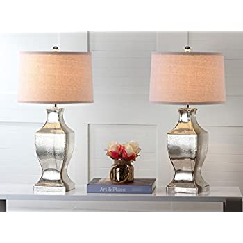 Safavieh Lighting Collection Glass Bottom Antique Silver 28.5-inch Table Lamp (Set of 2)