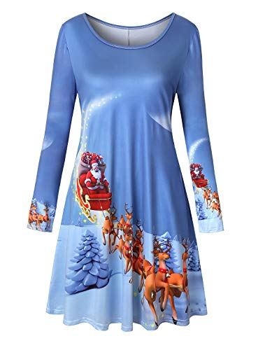 Cucuchy Knee Length Dresses for Women, Cute Xmas Dress Ugly Party Costume Attractive Newly Reindeer Designer Style Outfits Cozy Lightweight Polyester Tee Shirt Tops Fall Warm Bright Blue X-Large