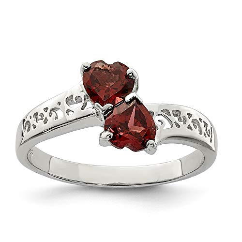 925 Sterling Silver Red Garnet Heart Band Ring Size 7.00 S/love Gemstone Fine Jewelry Gifts For Women For Her ()