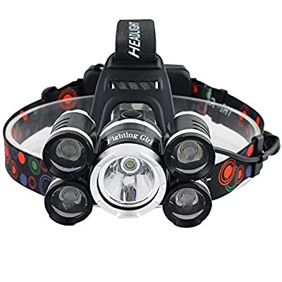 FightingGirl Waterproof 1000 Lumen 5 Led Headlamp XML T6+4Q5 Head Lamp Powerful Led Headlight, Rechargeable Flashlight Head Lights for Camping, Hiking, Outdoors