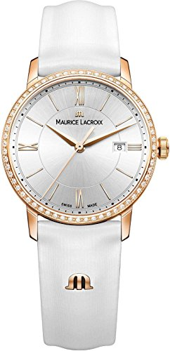 Maurice Lacroix Women's 'Eliros' Swiss Quartz Gold-Tone and Leather Casual Watch, Color:White (Model: EL1094-PVPD1-112-1)