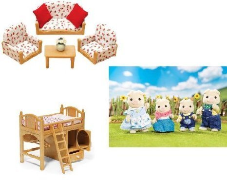Calico Critters Living Room Suite Sister's Loft Bed and Oinks Pig Family Doll doll figure (parallel import)
