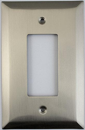 Jumbo Stamped Sating Nickel One Gang GFI/Rocker Opening Wall Plate (Oversized Light Switch Covers)