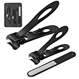 Fingernail and Toenail Clippers Set 15mm Wide Jaw Opening Nail Clippers for Thick Nails Large and Small Sizes Stainless Steel Sharp Nail Cutter with Nail File for Men and Women 3PCS (Black)